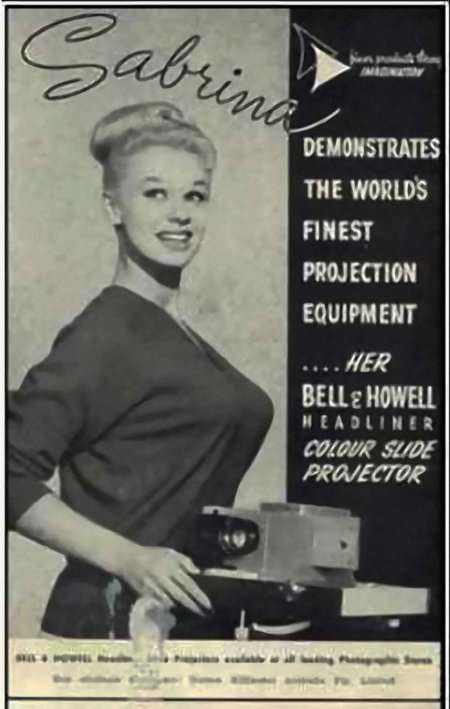 """Sabrina demonstrates the world's finest projection equipment"""