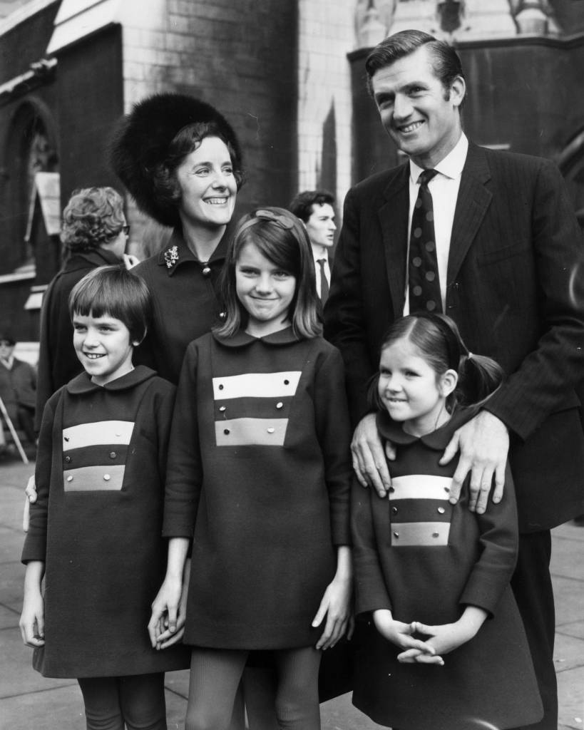 24th November 1970: Conservative MP for Enfield-West after a by-election victory, Cecil Parkinson outside the House of Commons with his wife and three daughters, L to R, Emma (9), Mary (10) and Joanna (6). (Photo by Central Press/Getty Images)