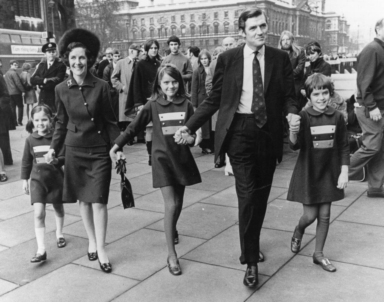24th November 1970: Cecil Parkinson after his by-Election victory, arriving at the House of Commons with his family, prior to taking his seat in Parliament. (Photo by Ian Showell/Keystone/Getty Images)