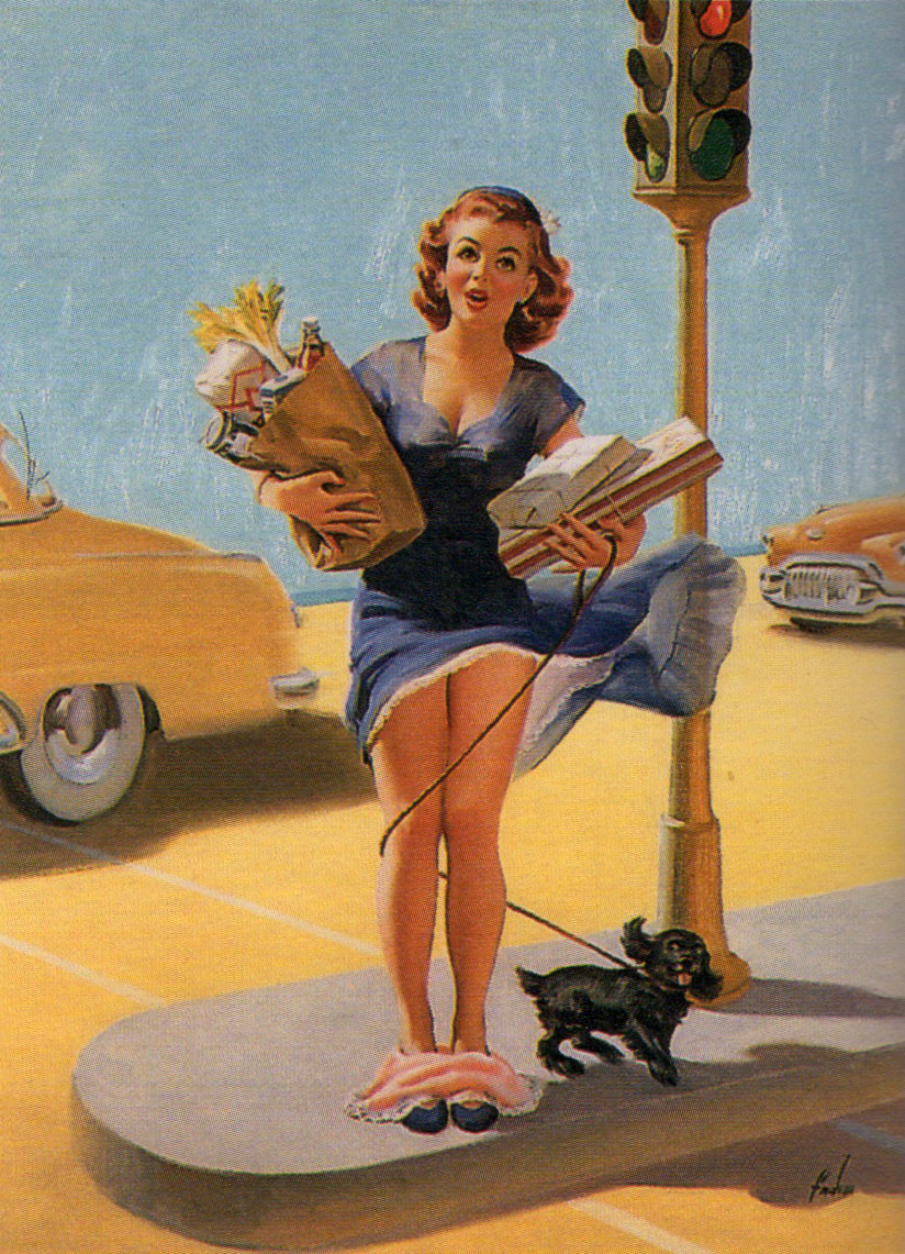 Art Frahm celery women in peril 1950s art