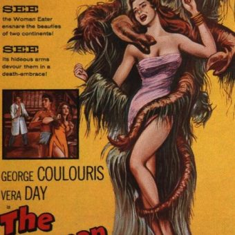 B Movie posters: young women being violated by fish, plants, monsters and men