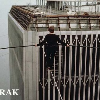 1974: Philippe Petit walks a tightrope between the twin towers of the World Trade Center