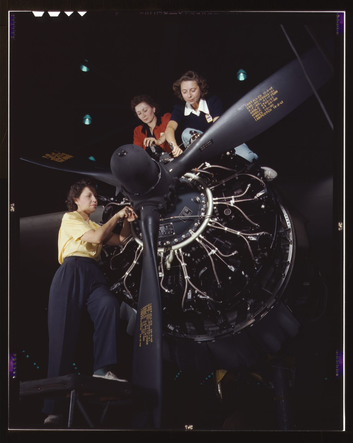 Women In World War 2 working at Douglas Douglas Aircraft Company at Long Beach, California