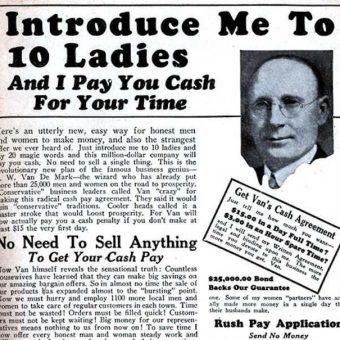 Retro advert: 'Introduce Me to 10 Ladies And I Pay You Cash'