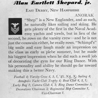 Alan Bartlett Shepard Junior's Navy Academy Yearbook