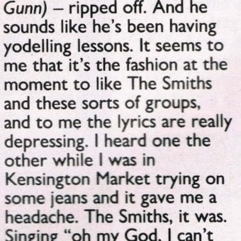 1986: Samantha Fox Reviews The Fall