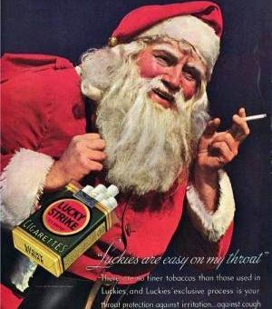 Santa Claus sold cigarettes for Christmas