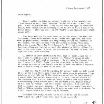 David Bowie's 1967 Letter to His First American Fan