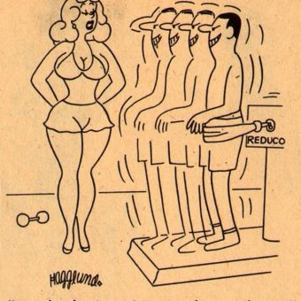 Saucy cartoon jokes in vintage adult girlie magazines