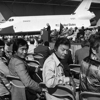 1976: the Star Trek cast meet the Space Shuttle Orbiter Enterprise