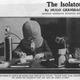 1925: the Isolator helmet by Hugo Gernsback