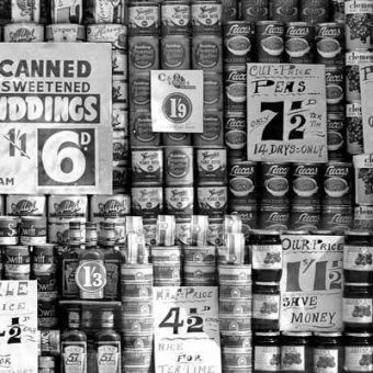 July 1951: A grocer's shop window in London