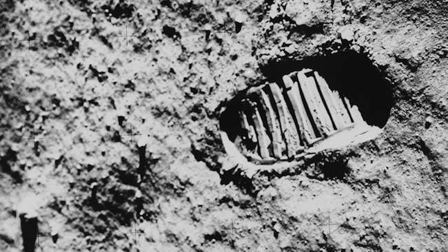 View of Astronaut Footprint in Lunar Soil