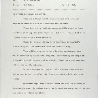 White House speechwriter William Safire's letter to President Nixon on the failed moon landing of 1969