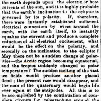 In 1981 technology stopped the 'Arctic region becoming equatorial and the tropics suddenly changed to polar temperature'