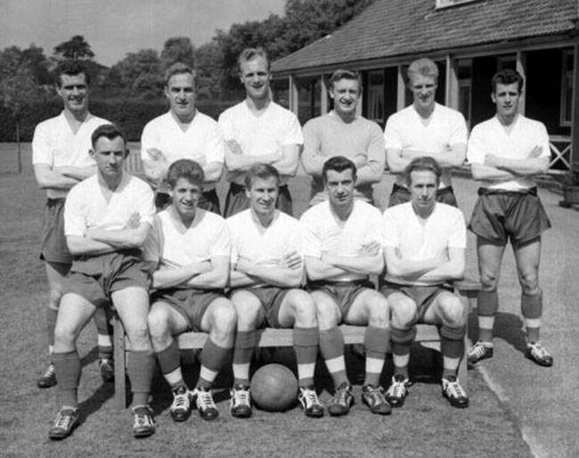 The England football team picked for their international against Italy, at the Bank of England sports ground in Roehampton. L-R (front): Bradley, Broadbent, Charlton, Haynes, and Holden. L-R (back): Clayton, Wright (captain), Howe, Hopkinson, Flowers, and Shaw.  * They will face the Italian team at Wembley Stadium, in London.