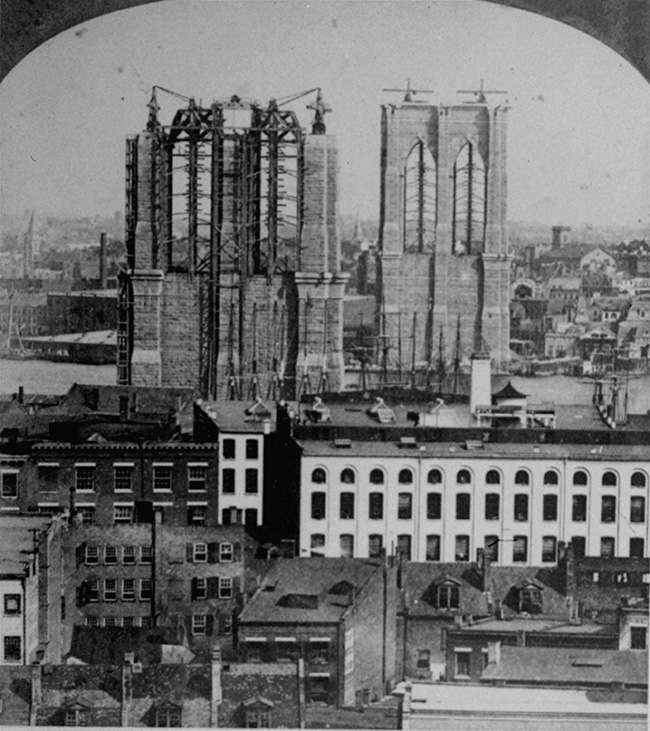 *** ADDS DATE ** FILE ** This 1876 file photo shows the construction on the east tower of the Brooklyn Bridge, under construction as viewed from the Brooklyn side of the East River. The Brooklyn Bridge is 125 years old this month and New York City is getting ready to celebrate.The city on Monday May 12, 2008 announced an array of activities including a special bridge lighting, concerts, lectures, film series and family events. (AP Photo, file)