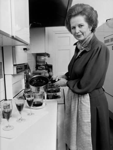 Prime Minister Margaret Thatcher in the kitchen of her flat at 10 Downing Street.