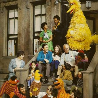 Photo: the first ever Sesame Street Cast (when Oscar was orange)
