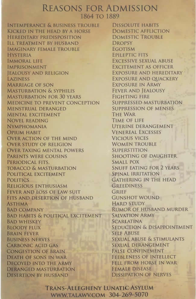 An amazing list of actual reasons for admission into the Trans-Allegheny Lunatic Asylum from the late 1800s.