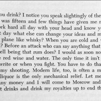 In 1935 Ernest Hemingway wrote this letter in praise of 'the bottle'
