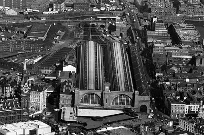 PA News Photo 8/3/89 An aerial view of London's Kings Cross station, the starting point of British Rail's proposed high speed rail link to the Channel Tunnel.