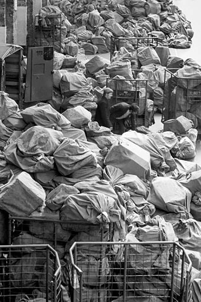 Mail bags are collected at King's Cross Station, London