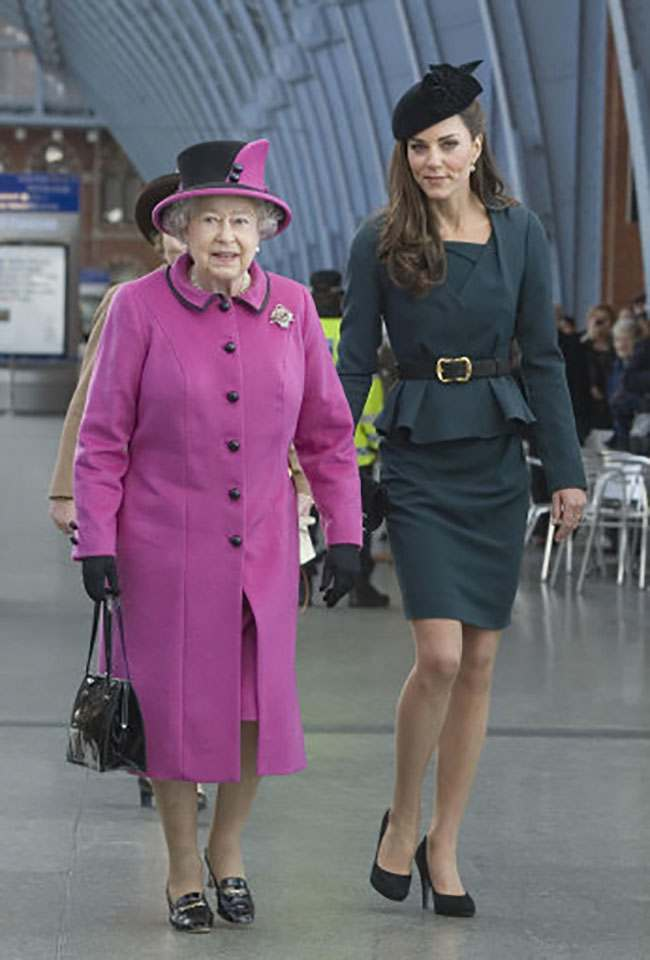 Queen Elizabeth II and The Duchess of Cambridge arrive at Kings Cross St Pancras Station, London, before boarding a train to visit the city of Leicester on the first date of her Diamond Jubilee tour of the UK.