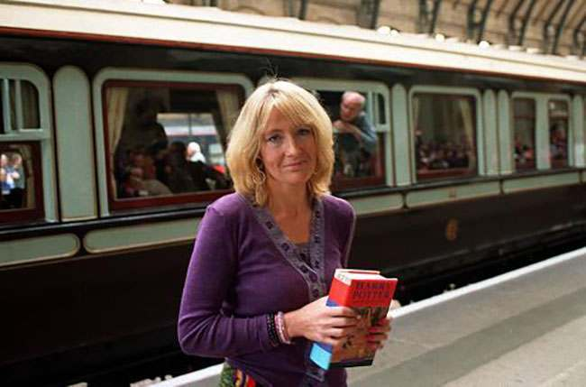 Author, Joanne Kathleen Rowling, 34, (J K Rowling)  at Kings Cross Station London, at the launch of her new Harry Potter book, 'Harry Potter and the Goblet of Fire'.   *  The fourth book, in series of seven which have now combined sold more than 35 million copies, The Goblet of Fire has achieved advanced sales of two million.