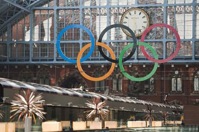 General View of Kings Cross St Pancras Station decorated with Olympic Rings - London