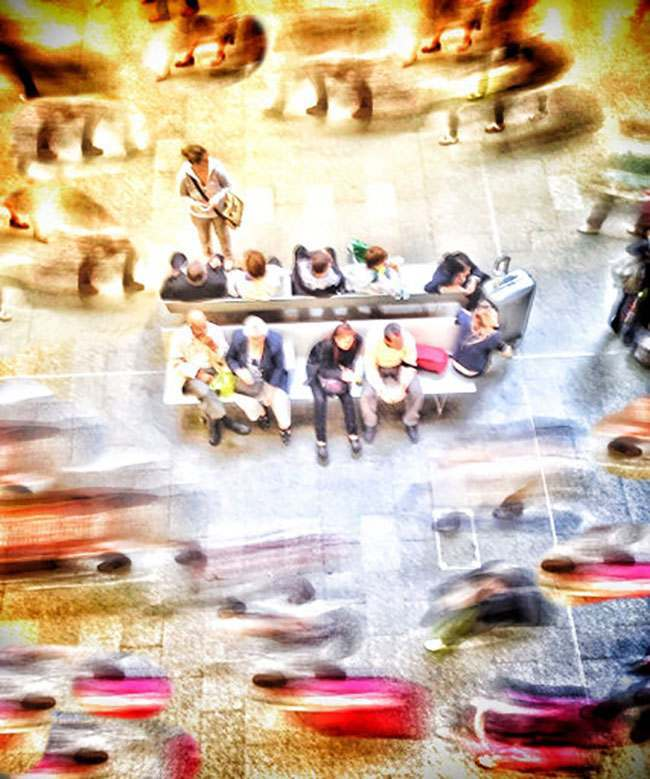 Travellers waiting for trains at London's St Pancras station (part of a series of images taken and processed on the iPhone)
