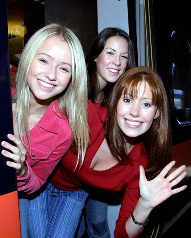 Actors (l-r) Sammy Winward, Verity Rushworth and Amy Nuttal board the train from Kings Cross Station on a trip to celebrate 30 years of Emmerdale.