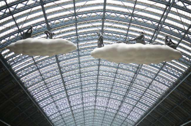 'Cloud: Meteoros' a new artwork by Lucy and Jorge Orta which is suspended from the roof of King's Cross St Pancras station in London.