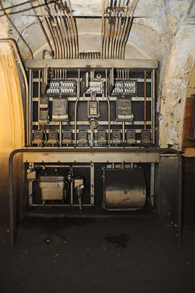 EMBARGOED TO 0001 AUGUST 7. A view of GEC switchgear inside the former Brompton Road tube station, a disused station on the Piccadilly line between South Kensington and Knightsbridge which is owned by the Ministry of Defence and which has been put on the property market.