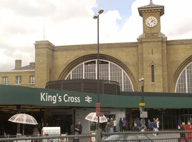 Kings Cross Station, built in 1851-1852 for the Great Northern Railway to serve Yorkshire, the north-east of England and Scotland. The engineer was Joseph Cubitt and the station was designed by his older brother, Lewis Cubitt.   The Metropolitan Line, which connects King's Cross with the City and Paddington, was the first Underground in the world, and was opened in 1863.