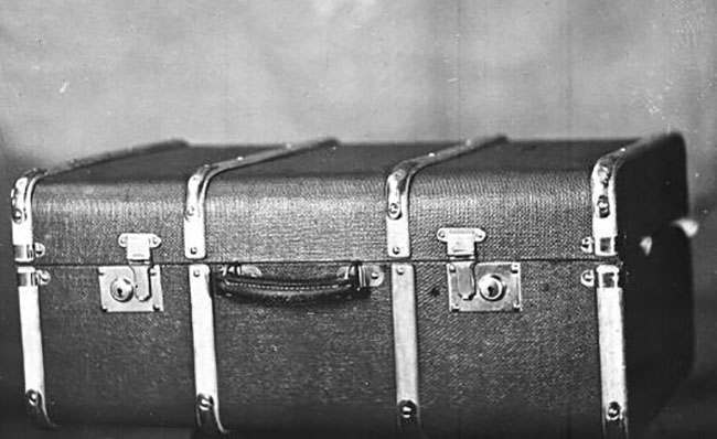 Image shows the trunk in which the dismembered body of a woman was found, at Brighton railway station in England, on June. 18, 1934. Two days later the body of a newborn baby girl was found packed in a straw basket at the same location. Also, a suitcase containing a pair of legs was found at King's Cross station in London.