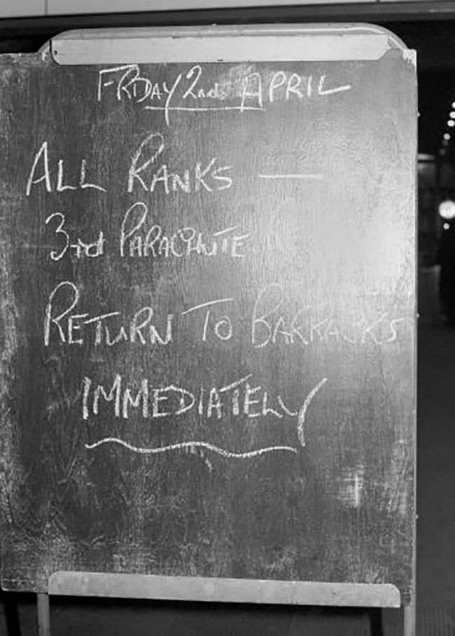 A chalked blackboard sign posted at Kings Cross railway station. The Falkland islands were invaded by Argentinian forces.