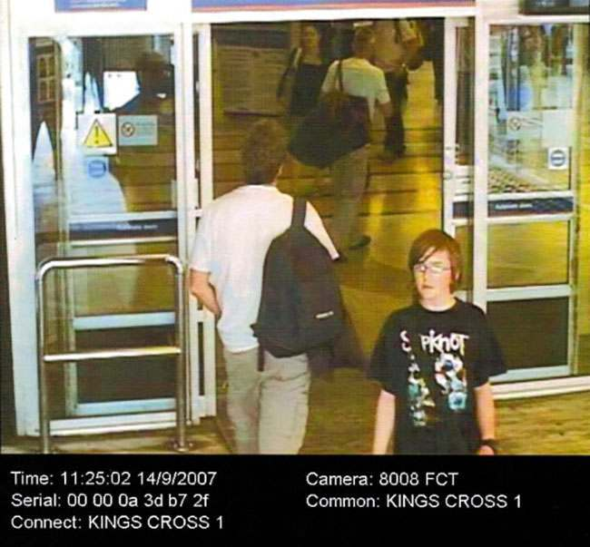 Undated South Yorkshire Police handout of CCTV footage showing 14-year-old Andrew Gosden at Kings Cross station on the 14 September last year. The teenager who disappeared from his home in Doncaster a year ago.