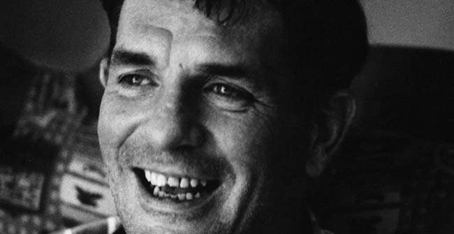 **FILE** Author Jack Kerouac laughs in this 1967 file photo in Lowell, Mass. The Cape Cod house once owned by Kerouac is up for sale. James Upton, the present owner of the three-bedroom, two-bath house, said that with his three children now grown, he no longer needs the space. He bought it in 1986 for $115,000 and is now asking $356,000. (AP Photo/Stanley Twardowicz, File)