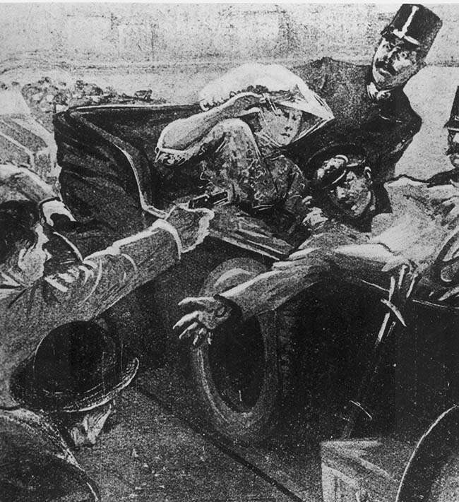 An artist's rendition shows the assassination of Archduke Franz Ferdinand of Austria-Hungary and his wife, Czech Countess Sophie Chotek, during their visit to Sarajevo, Bosnia, on June 28, 1914. The assassin, Serbian nationalist Gavrilo Princip, left, of the group Black Hand, was captured. The incident precipitated World War I. (AP Photo)