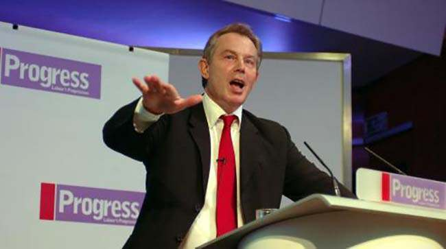 British Prime Minister Tony Blair during his speech Saturday October 15 2005, at the annual conference of Progress in central London. Progress is an independant organisation of Labour Party members, which aims to promote radical and progressive politics in the 21st century. See PA story POLITICS Blair. PRESS ASSOCIATION Photo. Photo credit should read: John Stillwell/Pool/PA