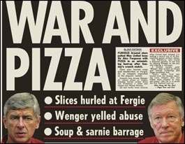 Description=Front and back page of the early edition (all editions the same) of The Sun dated Tuesday 26th October 2004. Headline reads: WAR AND PIZZA - Slices hurled at Fergie : Wenger yelled abuse : Soup & sarnie barrage (relating to events after Manchester United beat Arsenal 2-0 at Old Trafford 24.10.2004). Pictured are: Arsene Wenger, Sir Alex Ferguson, Zoe Salmon (the new presenter on Blue Peter), Jordan and Michael Carroll (Lottery lout and chav)