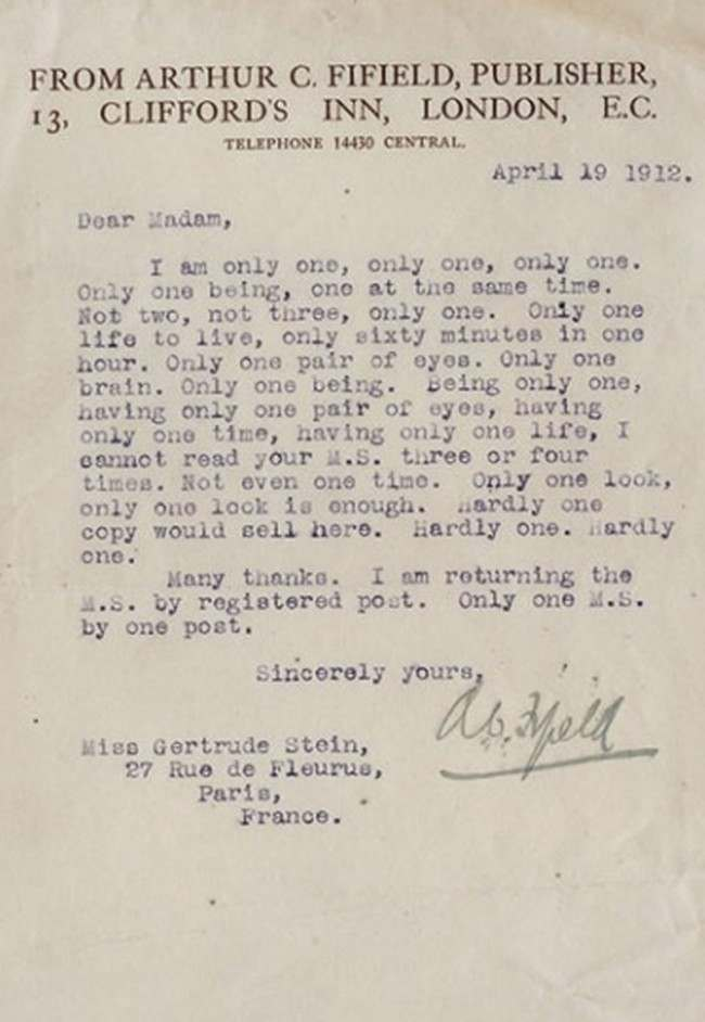 gertrude stein rejection