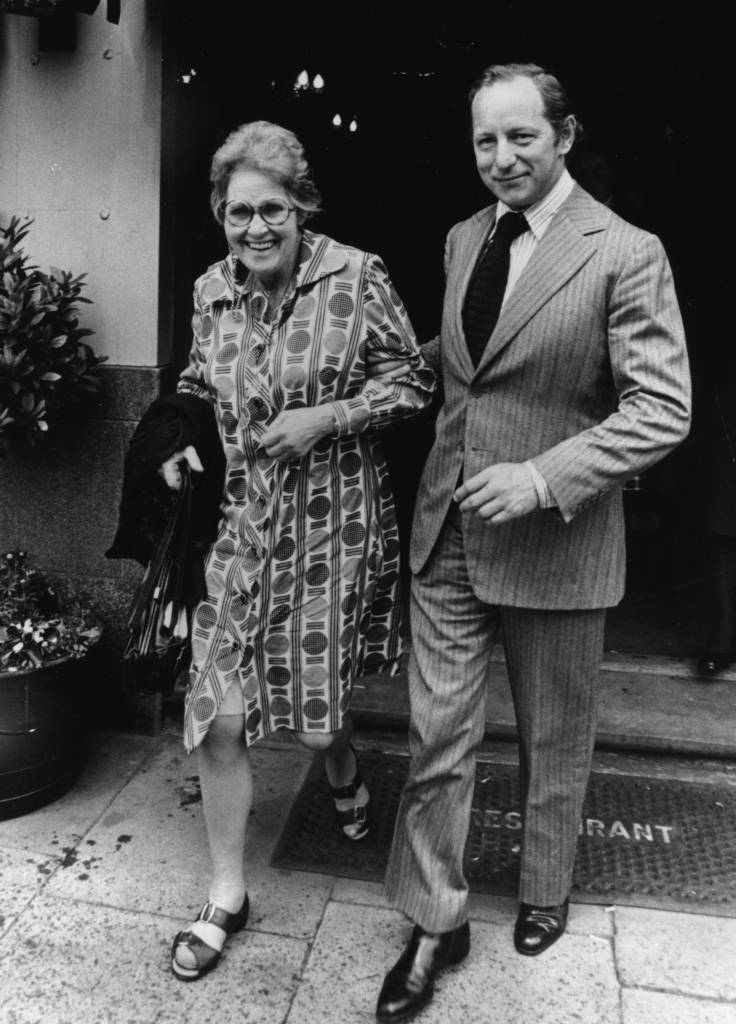 17th July 1975: The Dowager Countess of Lucan and William Shand-Kydd brother in-law to Lord Lucan's wife, leaving for the court inquest on Sandra Rivell. (Photo by Keystone/Getty Images)