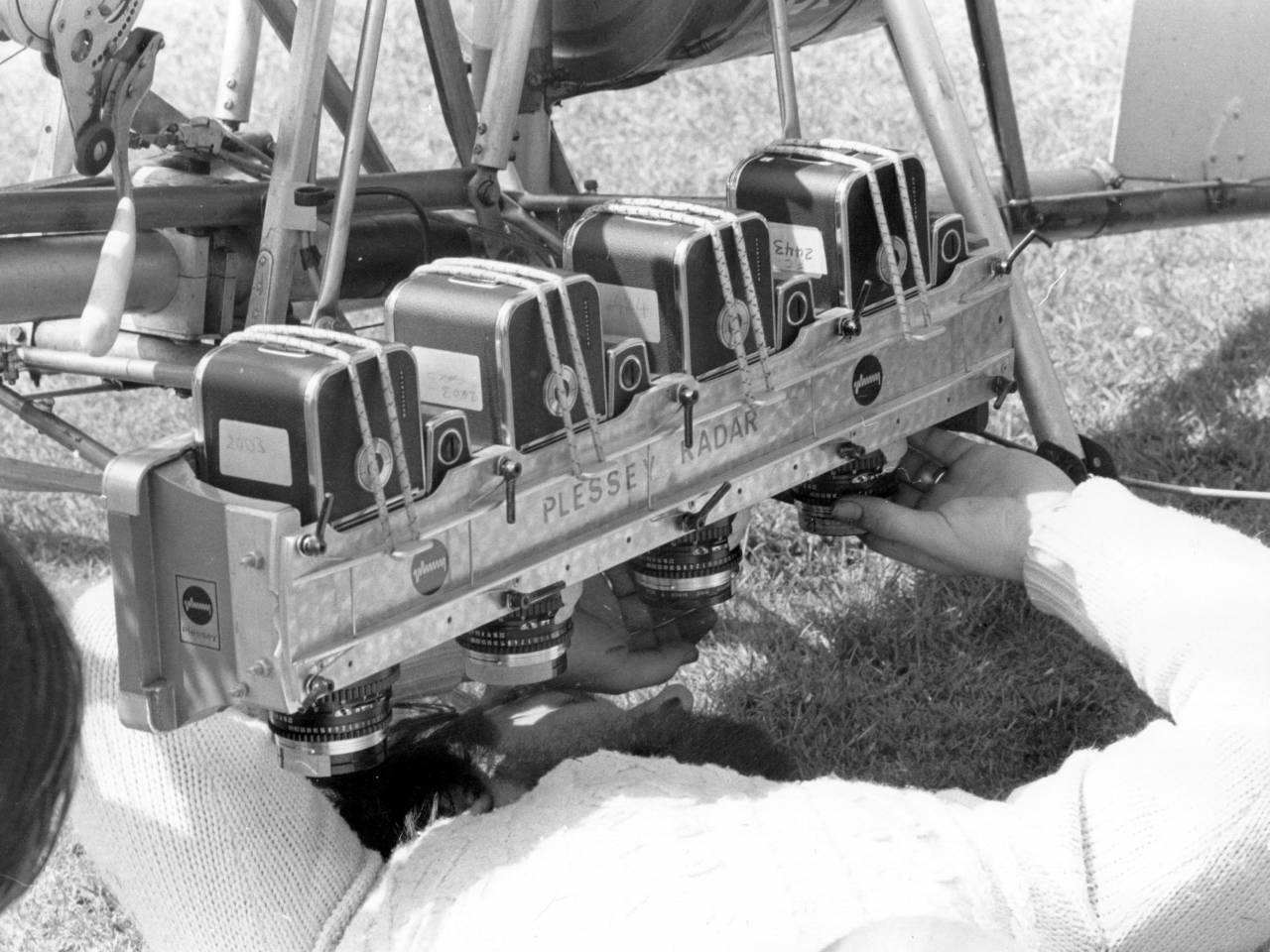 23rd May 1975: An infrared camera is adjusted for mounting on an autogyro piloted by Wing Commander Kenneth Wallis, to take photographs up to 2,000 feet above the Sussex Downs for seeking further clues to the disappearance of Lord Lucan who has been sought in connection with his children's nurse, murdered in November 1974. (Photo by Keystone/Getty Images)