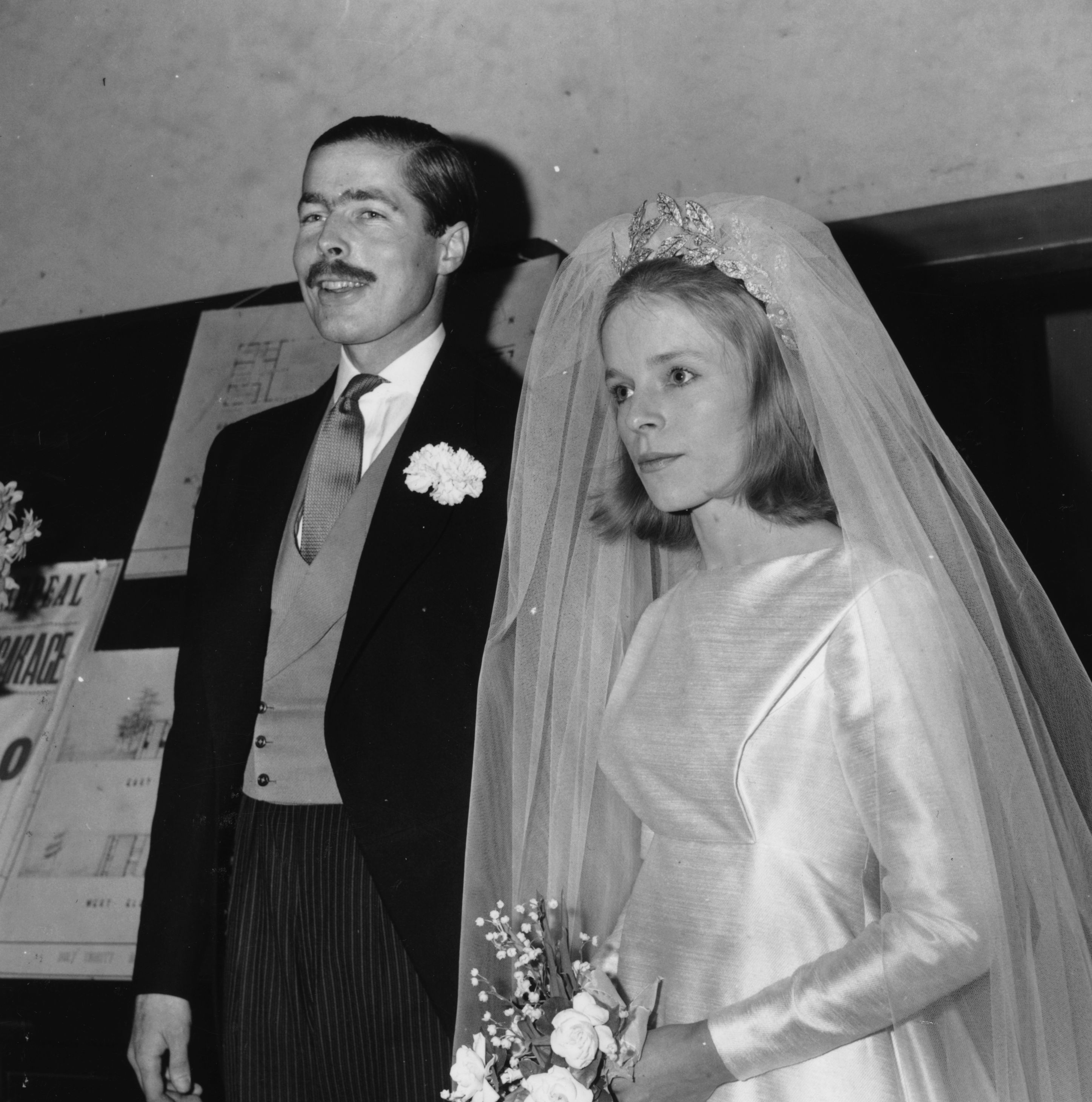28th November 1963: John Richard Bingham, Earl of Lucan, and Veronica Duncan after their marriage. (Photo by Douglas Miller/Keystone/Getty Images)