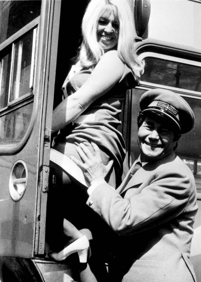 Nat Cohen's legacy: Reg Varney and Carole Donoghue filming On The Buses. 1973