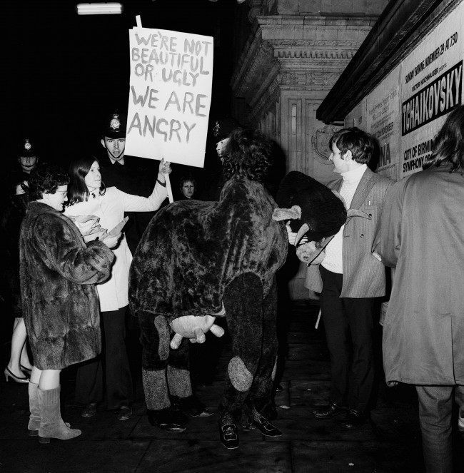 A demonstration by young Liberals against the Miss World contest outside the Royal Albert Hall where the event is being held. 1970.