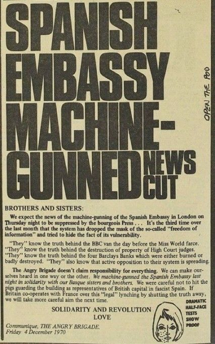 The Angry Brigade Communique published in the International Times, December 1970