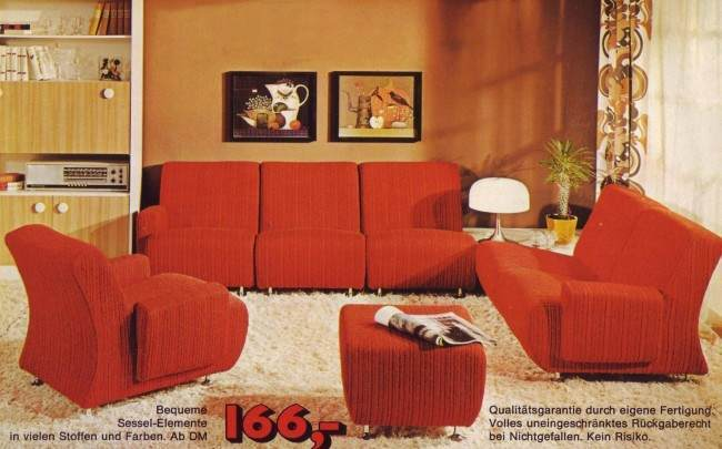 vintage red couch